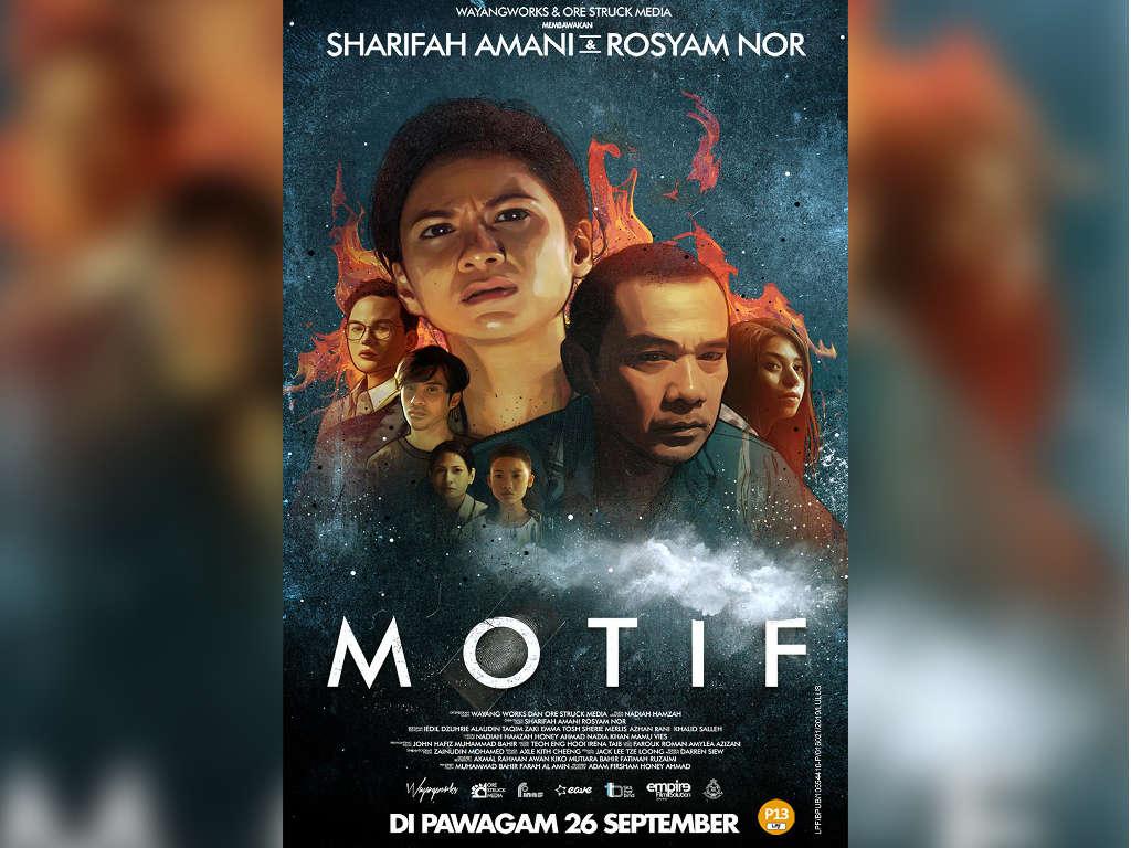 """Poster filem """"Motif"""" yang menampilkan barisan pelakon tersohor tanah air."""