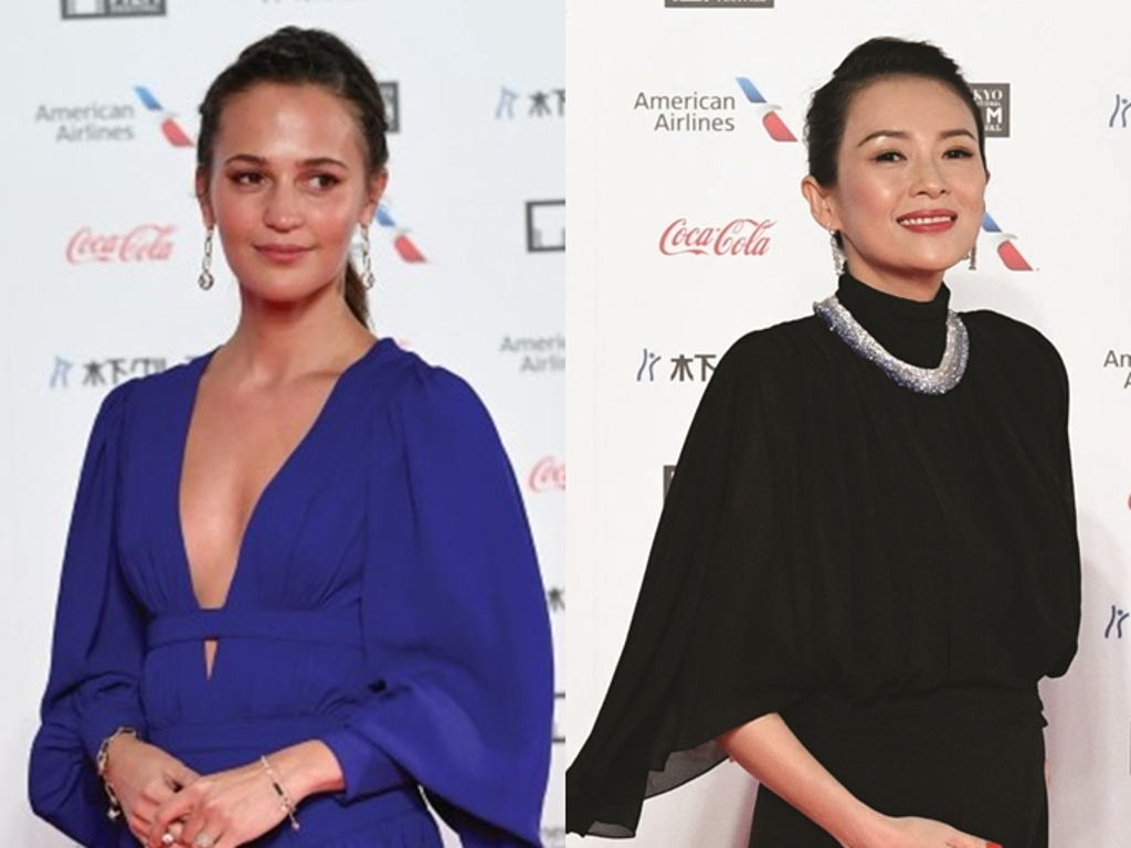 Alicia Vikander and Zhang Ziyi at the TIFF red carpet opening event.