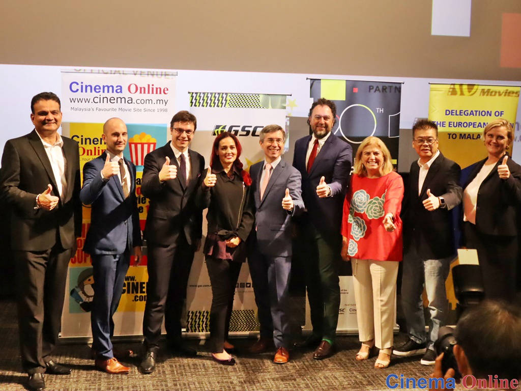 L-R: Mr. Devinder Singh (Cinema Online), Mr. Matthias Vanheusden, Mr. Maciej Tumulec, Mrs. Silvia Marrara, H.E. Mr. Frederic Laplanche, H.E. Mr. Kreso Glavac, H.E. Maria Castillo Fernandez, Mr. Tung Yow Kong (General Manager, GSC Movies), and H.E. Mrs. Gunn Jorid Roset.