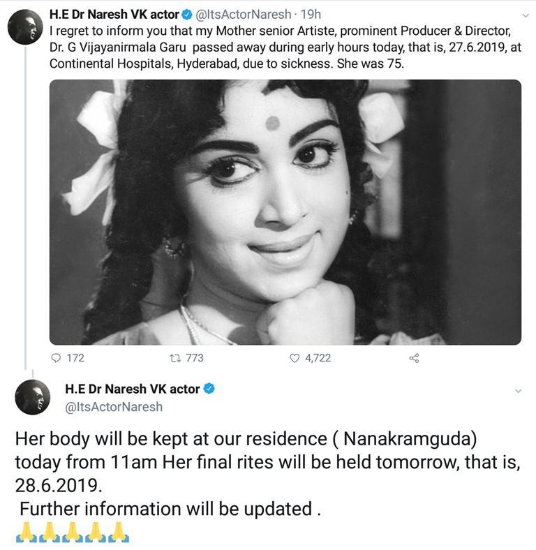 Actress-director Vijaya Nirmala passes away, celebrities pay