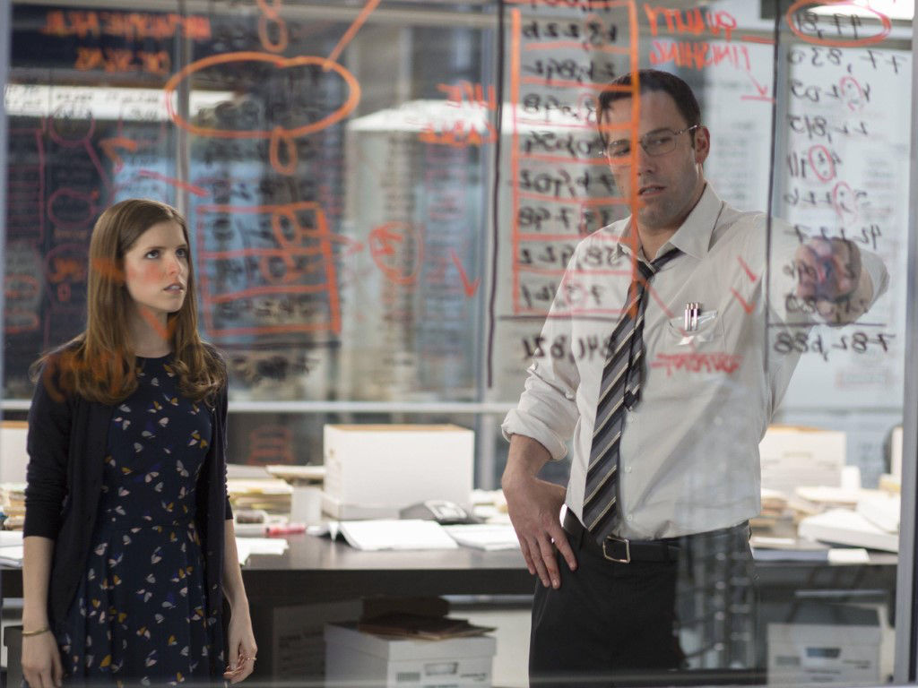 "Ben Affleck (R) in a scene with co-star Anna Kendrick in 2016's ""The Accountant""."