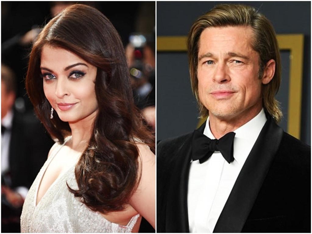 Brad Pitt (kanan) nantikan peluang untuk berlakon dengan Aishwarya Rai.