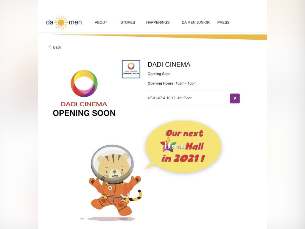 There's another Dadi Cinema location opening in Malaysia!