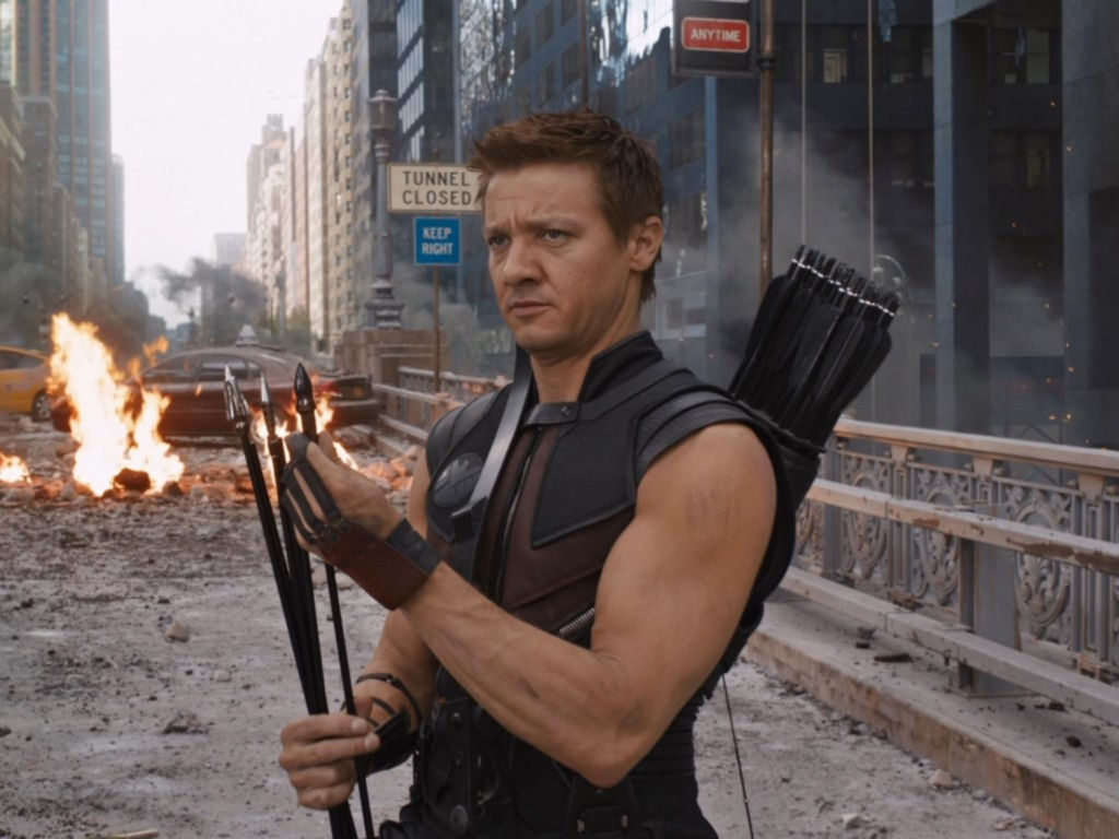 Jeremy Renner reprises his role as Hawkeye in the upcoming eponymous Disney series.