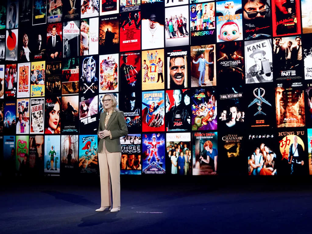 Warner Bros. CEO Ann Sarnoff announcing HBO Max pricing during an event last October.