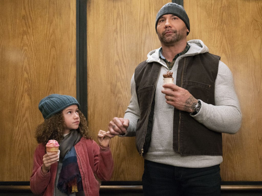 "Chloe Coleman and Dave Bautista team up in ""My Spy""."