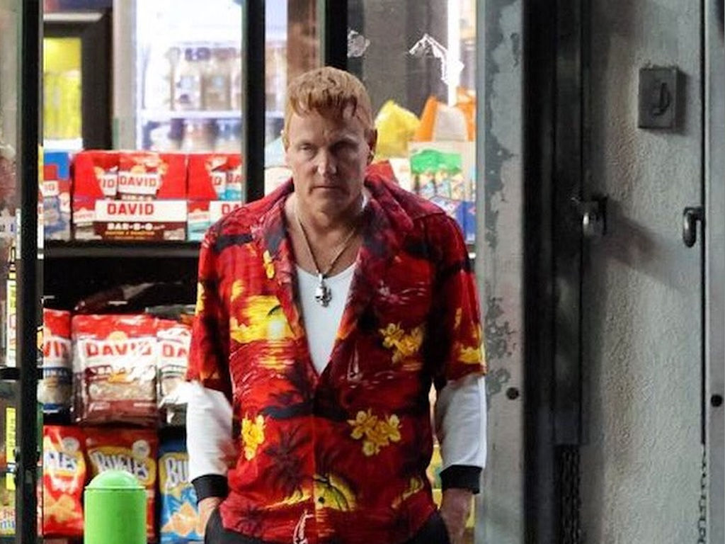 """Woody Harrelson, in character as Cletus Kasady, seen here filming the """"Venom"""" sequel."""