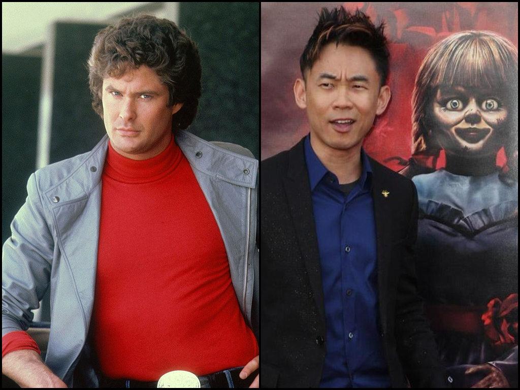 "David Hasselhoff (L) starred in the original ""Knight Rider"" series that James Wan (R) will be adapting into film."