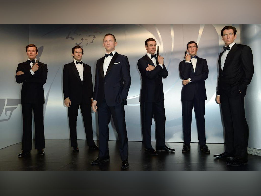 All the six James Bond wax figures at Madame Tussauds; Sean Connery, George Lazenby, Roger Moore, Timothy Dalton, Pierce Brosnan and Daniel Craig