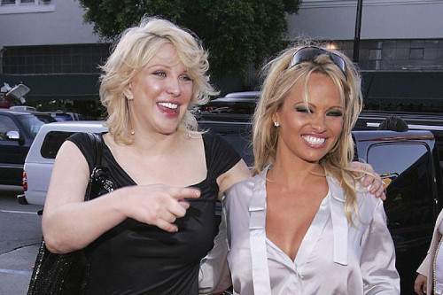 Pamela Anderson (right) has remained silent but her friend Courtney Love says the upcoming series sparks complex trauma in her