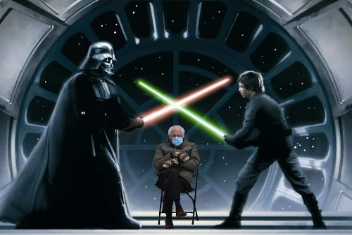 Sanders unamused by the lightsaber fight, it seems