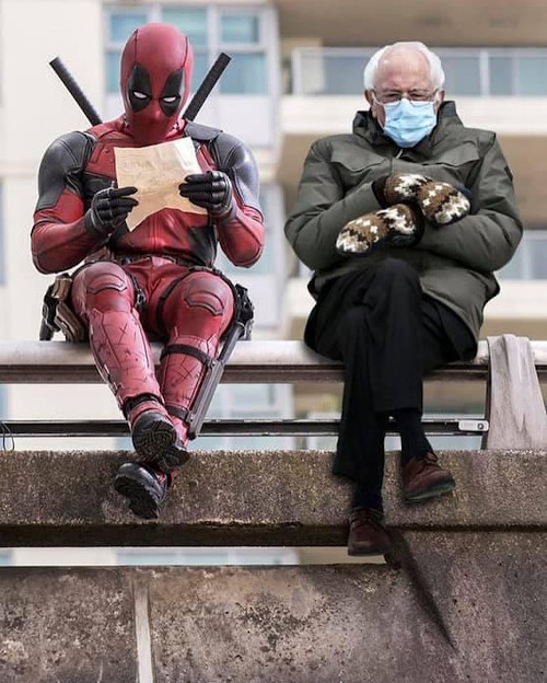 Deadpool hanging out with the Vermont Senator