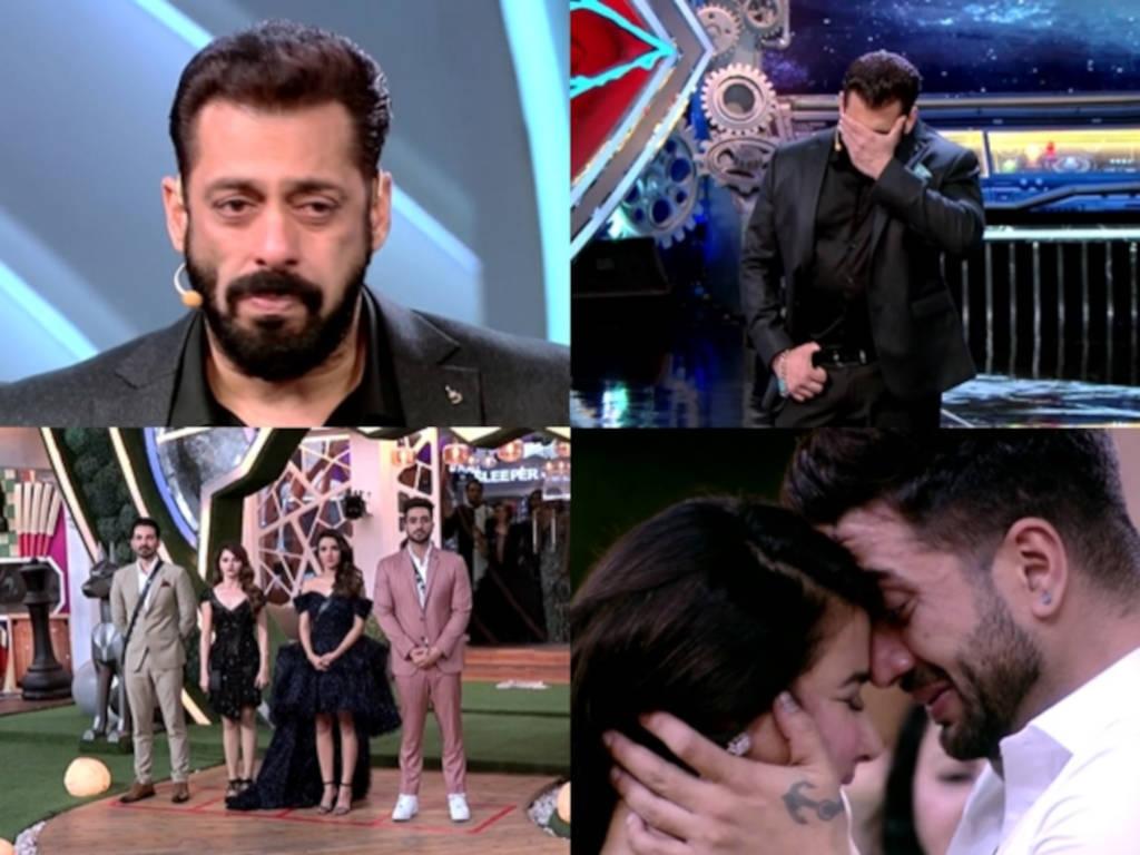 Salman Khan tak dapat tahan sebak dengan situasi penuh emosi ketika penyingkiran peserta.
