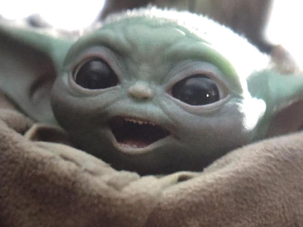 Happy, Baby Yoda is